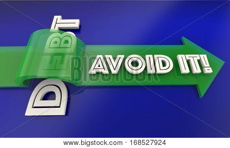 Debt Avoid It Save Money Budget Plan Arrow 3d Illustration