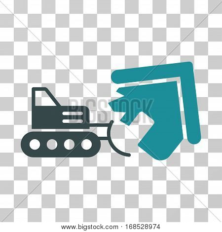 Demolition icon. Vector illustration style is flat iconic bicolor symbol, soft blue colors, transparent background. Designed for web and software interfaces.