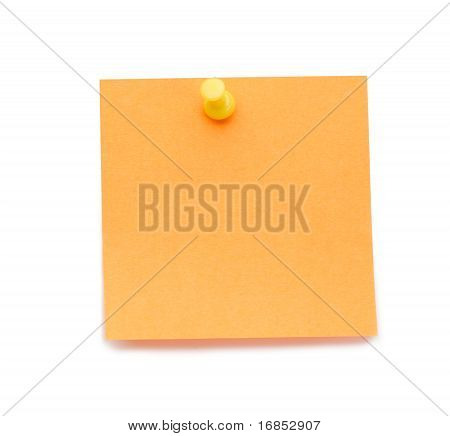 Orange Post it Memo With Drawing Pin