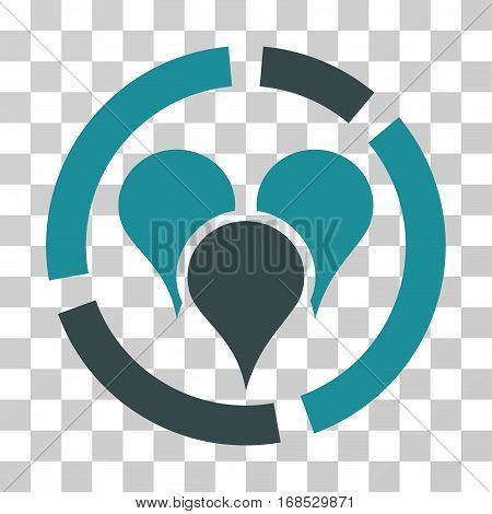 Geo Targeting Diagram icon. Vector illustration style is flat iconic bicolor symbol, soft blue colors, transparent background. Designed for web and software interfaces.