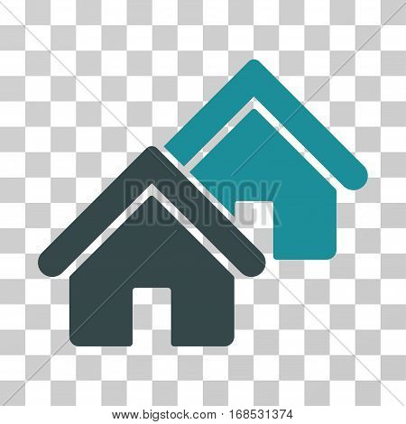 Realty icon. Vector illustration style is flat iconic bicolor symbol, soft blue colors, transparent background. Designed for web and software interfaces.