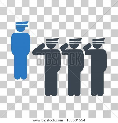 Army icon. Vector illustration style is flat iconic bicolor symbol, smooth blue colors, transparent background. Designed for web and software interfaces.