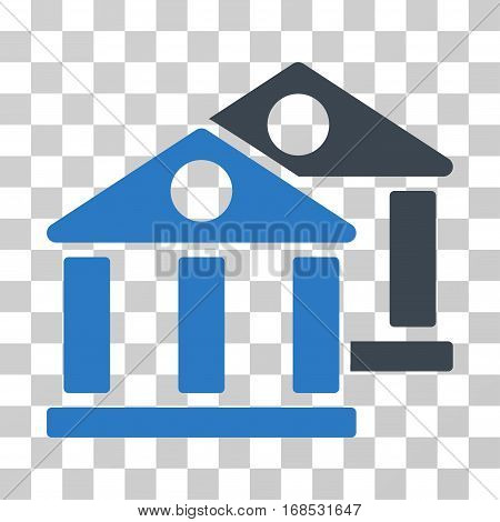 Banks icon. Vector illustration style is flat iconic bicolor symbol, smooth blue colors, transparent background. Designed for web and software interfaces.