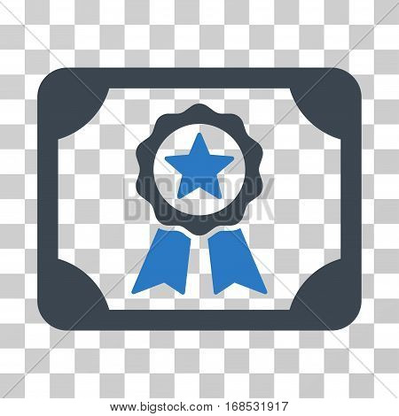 Certificate icon. Vector illustration style is flat iconic bicolor symbol, smooth blue colors, transparent background. Designed for web and software interfaces.