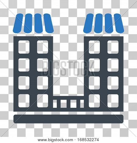 Company icon. Vector illustration style is flat iconic bicolor symbol, smooth blue colors, transparent background. Designed for web and software interfaces.