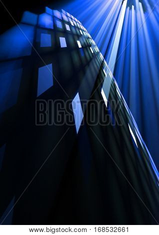 abstract blue rays from tiles background texture