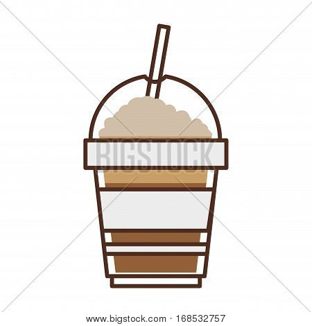 glass disposable of cappuccino with Skinny drinks vector illustration