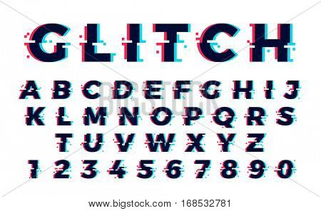 Vector distorted glitch font. Trendy style lettering typeface. Latin letters from A to Z and numbers from 0 to 9. Green and red channels.