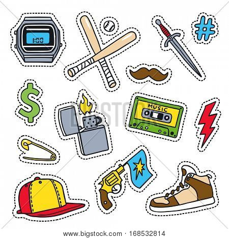 Set of masculine sketchy patches. Different trendy badges and pins. Oldschool vector pictograms in line-art style with 90's colors. Gun, baseball bat, knife and shoe icons.