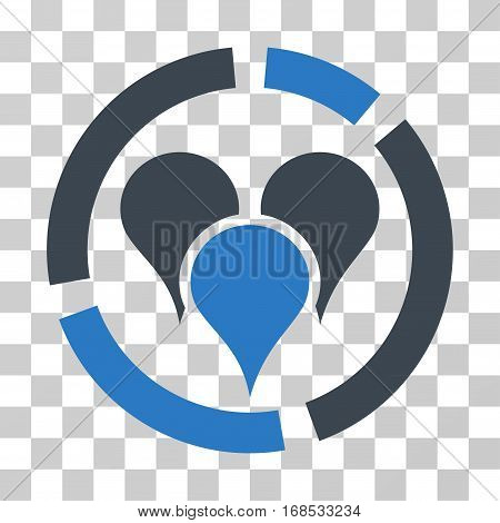 Geo Targeting Diagram icon. Vector illustration style is flat iconic bicolor symbol, smooth blue colors, transparent background. Designed for web and software interfaces.