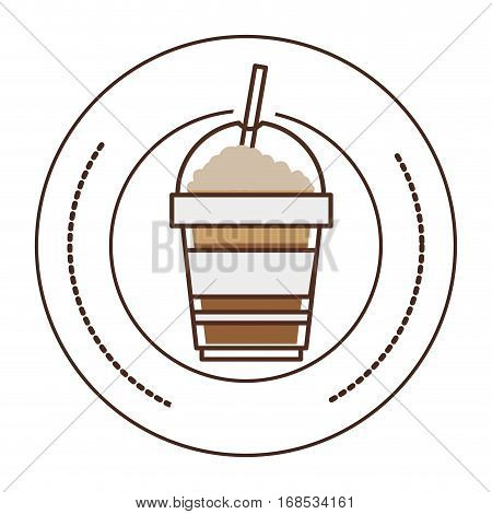 sticker stamp circular with glass disposable of cappuccino with Skinny drinks vector illustration