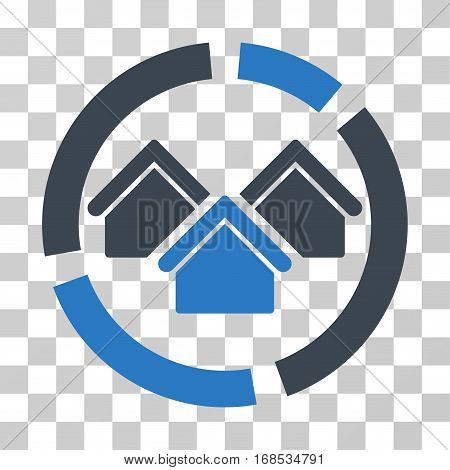 Realty Diagram icon. Vector illustration style is flat iconic bicolor symbol, smooth blue colors, transparent background. Designed for web and software interfaces.