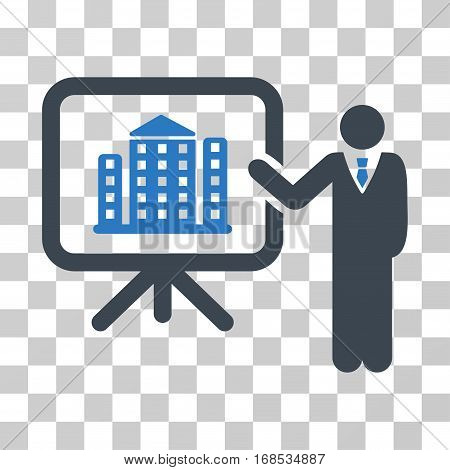 Realty Presention icon. Vector illustration style is flat iconic bicolor symbol, smooth blue colors, transparent background. Designed for web and software interfaces.