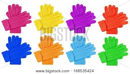 Colorful woolen gloves isolated on white background