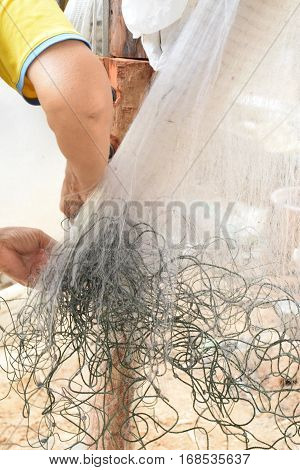 fishing net background Fish brown Weathered fishing nets