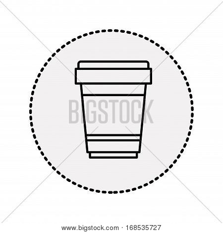 sticker circular shape silhouette glass disposable for hot drinks with lid vector illustration