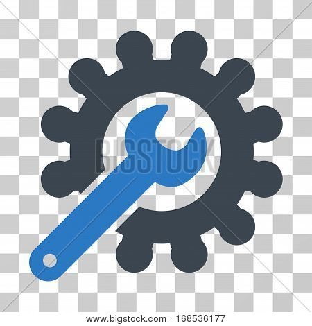 Wrench And Gear Customization Tools icon. Vector illustration style is flat iconic bicolor symbol, smooth blue colors, transparent background. Designed for web and software interfaces.