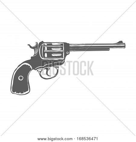 Revolver Gun isolated on white background. Vector illustration