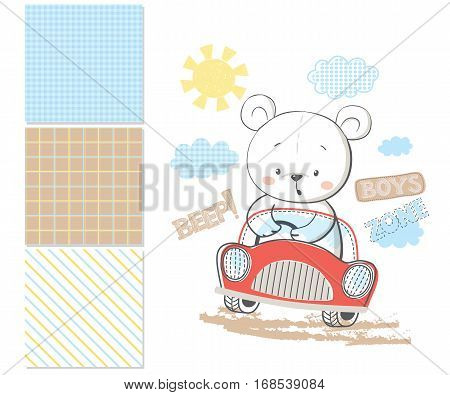 Little bear in car. Surface pattern and 3 seamless pattern. Cartoon vector illustration