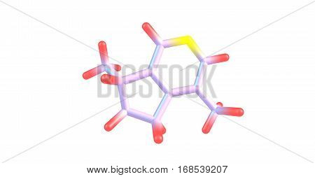 Actinidine is a pyridine derivative found in the essential oil of valerian root and silver vine. Actinidine is also a pheromone for a variety of insects. 3d illustration