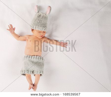 Newborn Infant Baby Boy On A Blanket