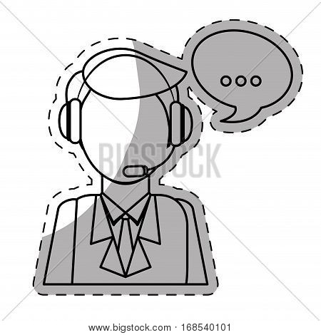 call center telemarketing tech service worker wearing headset icon image vector illustration design