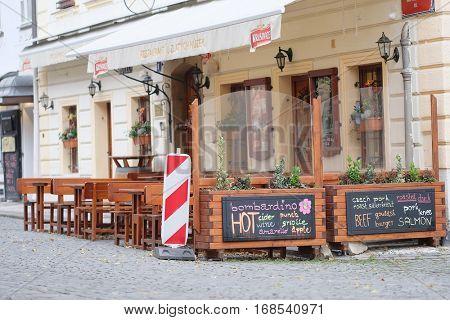 Prague, Czechia - November, 21, 2016: restaurant in Prague, Czechia