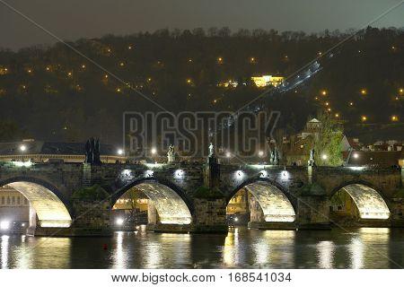 Prague, Czechia - November, 21, 2016: Panorama of an old Prague, bridge and embankment of Vitava river, Czechia