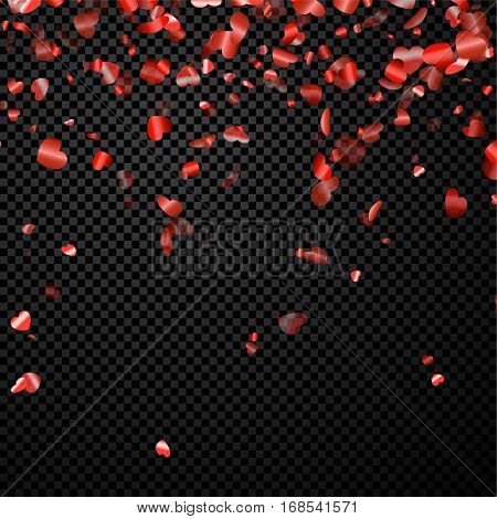 Love valentine's chess background with glossy red hearts. Vector illustration.