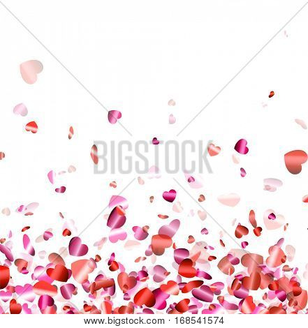 Love valentine's background with pink and red hearts. Vector illustration.