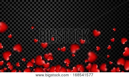 Love valentine's chess background with red 3d hearts. Vector illustration.