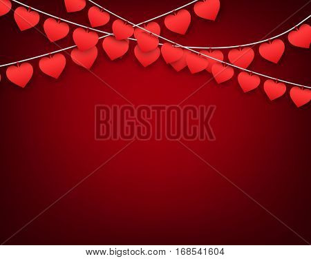 Red love valentine's background with garland of hearts. Vector illustration.