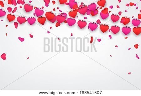 Love valentine's background with garland of hearts. Vector illustration.