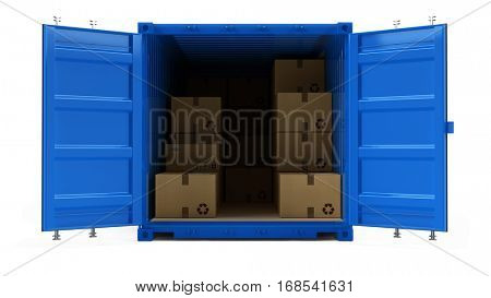 Open blue cargo freight shipping container with cardboard boxes isolated on white. 3d illustration