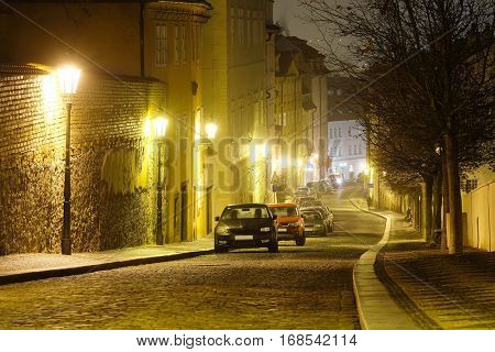 Night street in a center of Prague