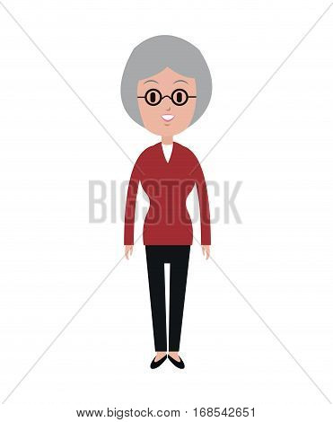 old woman with glasses red blouse vector illustration eps 10