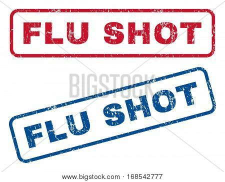Flu Shot text rubber seal stamp watermarks. Vector style is blue and red ink tag inside rounded rectangular banner. Grunge design and dirty texture. Blue and red stickers.