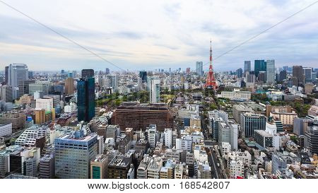 Aerial view Tokyo Tower cityscape Tokyo Japan.