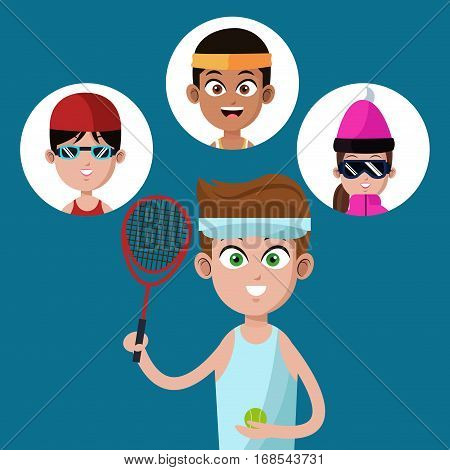 handsome boy tennis racket ball-group players vector illustration eps 10