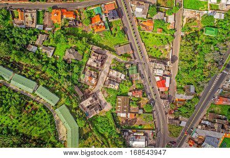 Aerial View Of Residential Community In Banos De Agua Santa Tungurahua Province South America