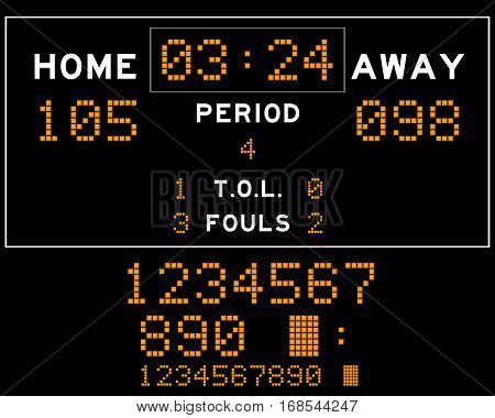 Basketball score board with orange square led on black background
