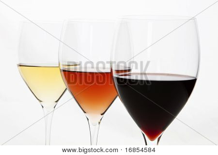 Three Colors Of Wine. Red, Rose And White.