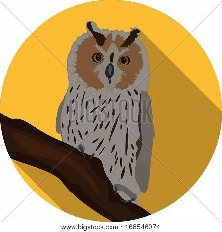 Illustration of a great horned owl on a branch silhouetting the full moon. Eps 10 Vector.