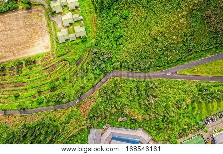 Overall Aerial View Of Small Touristic City In The Andean Highlands Banos De Agua Santa Tungurahua Province In The Daylight South America