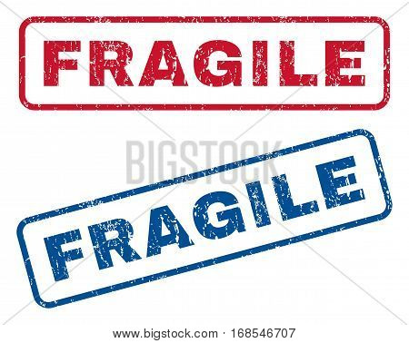 Fragile text rubber seal stamp watermarks. Vector style is blue and red ink tag inside rounded rectangular banner. Grunge design and dust texture. Blue and red stickers.