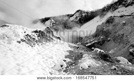 Noboribetsu Onsen Snow Winter National Park Monochrome