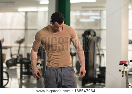 Portrait Of Muscle Man In Brown T-shirt
