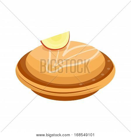 Homemade organic apple pie dessert vector illustration. Fresh golden rustic gourmet bakery. Traditional slice crust delicious. Seasonal tasty warm baked dish.