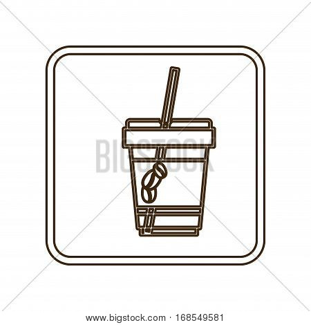 monochrome contour in square frame with disposable glass of cappuccino and straw vector illustration