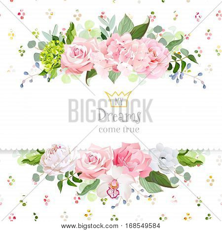 Stylish mix of flowers horizontal vector design frame. Hydrangea rose camellia orchid peony carnation eucalyptus wildflowers. Rainbow confetti backdrop. All elements are isolated and editable